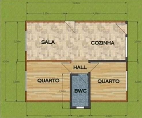 Casa De Madeira 2 Quartos Itajai 48M² Ecomorada Projeto 1