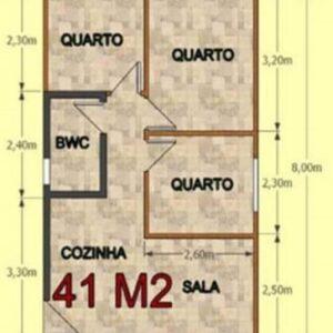 Casa Pré Fabricada de Madeira 41 m² Tradicional 3 quartos – Pinus