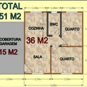 Casa Pré Fabricada de Madeira 51 m² Tradicional 2 quartos – Pinus