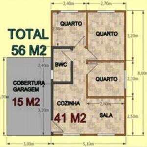 Casa Pré Fabricada de Madeira 56 m² Tradicional 3 quartos – Pinus