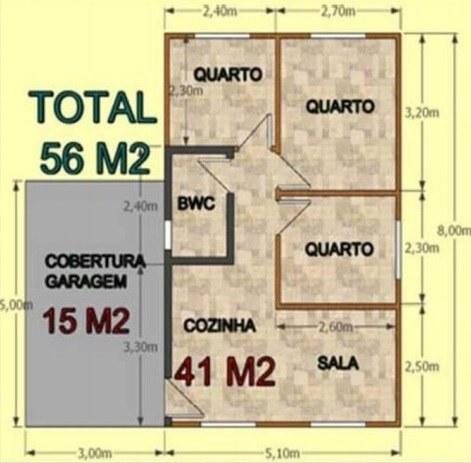 Casa De Madeira Com 3 Quartos Tradicional 56M²