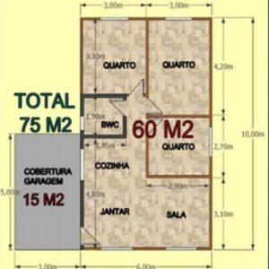 Casa Pré Fabricada de Madeira 75 m² Tradicional 3 quartos – Pinus