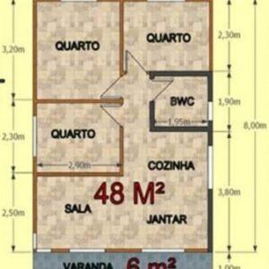 Casa Pré Fabricada de Madeira 54m² Concórdia 3 quartos – Pinus