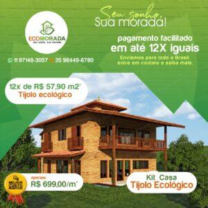 Kit Casa de Tijolo Ecologico Ecomorada